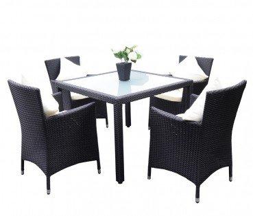 Polyrattan Tischset 4004 schwarz, Tisch: ca. 100 x 100 x 74 cm, Sessel: ca. 60 x 60,5 x 86,5 cm, Farbe Schwarz