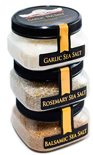 Italian Flavors Sea Salt 3-Pack: Balsamic, Rosemary, Garlic, 12 Total Ounces, Caravel Gourmet