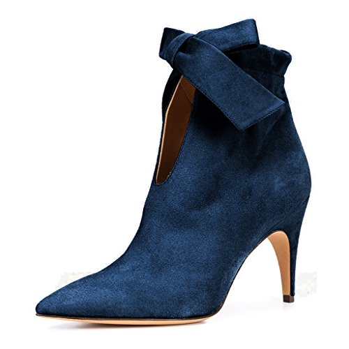 Pointy Toe Bootie - XYD Classical Pointy Toe Ankle Booties Dress Low Kitten Heel Graceful Boots for Women Size 9.5 Blue