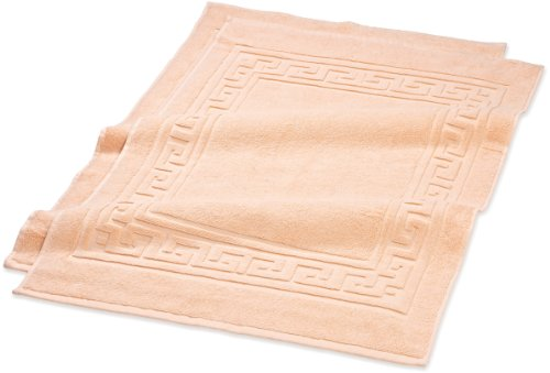 Superior Hotel & Spa Quality Bath Mat Set of 2, Made of 100% Premium Long-Staple Combed Cotton, Durable and Washable Bathroom Mat 2-Pack - Peach, 22 x 35 each
