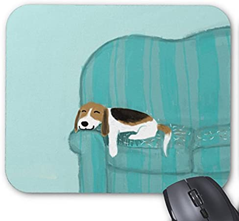 UOOPOO Happy Couch Dog Pattern: Print Cute Beagle Mouse Pad Rectangle Non-Slip Rubber Personalized Mousepad Gaming Mouse Pads 8.2 x 10.2 x 0.12 Inch