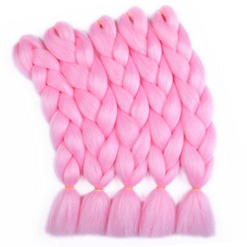 Liddy 5 PCS Pink Color Jumbo Braiding Hair Big Jumbo Box Braid 24 Inches 100g/pc(5pcs,Pink)...