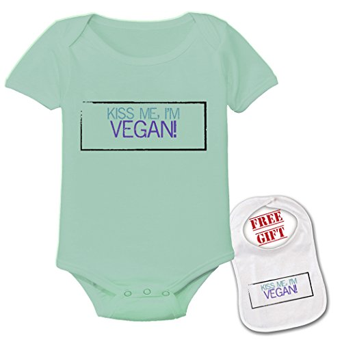 Vegan baby amazon kiss me im vegan cute custom boutique baby bodysuit onesie matching bib negle Image collections