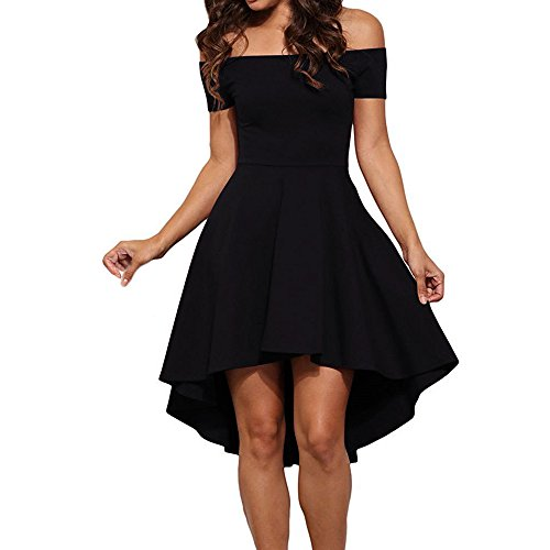 SUNNOW Women Vintage Off Shoulder Pleated Cocktail Evening Party Midi Black Dress