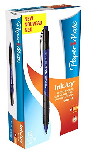 Paper Mate Inkjoy 500 RT Retractable Ball Pen Medium Tip 1.0mm - Blue (Box of ()