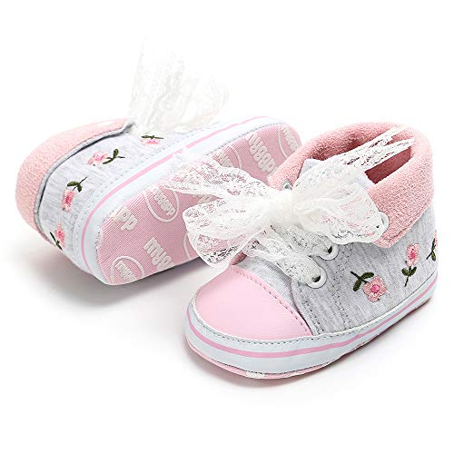 (Unisex Baby Boys Girls Star High Top Sneaker Soft Anti-Slip Sole Newborn Infant First Walkers Canvas Denim Shoes )