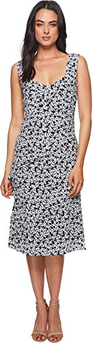 Nicole Miller Women's Asymmetrical Pleated Dress Black/White 8