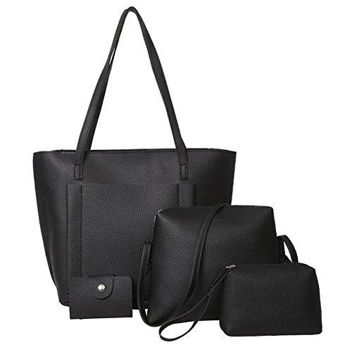 4Pcs Women Pattern Leather Handbag Shoulder Bag+Crossbody Bag+Clutch Wallet+Card Holder Sets (Black, Free) -