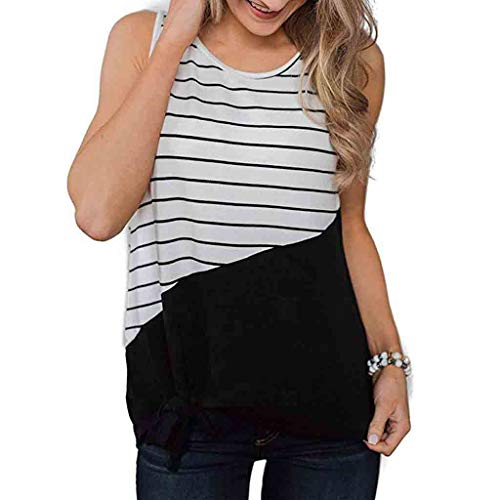 (Seaintheson Women Tank Tops, Casual Crew Neck Sleeveless Striped T-Shirt Color Block Vest Tops Summer Round Neck Blouse)