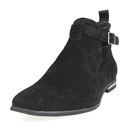 AN-by-LUCIUS-Mens-Riding-Boots-Jodhpur-Boots-Ankle-Boots-Buckle-Plain-Toe-Side-Zipper-Python-Beige-Black