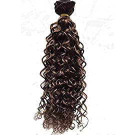 Deep Curl Deep Wave Brown Brazilian Clip in Hair Extensions 100% Remy Human Hair 24 Inches(55cm) 80g 7pcs/set, Color #6…