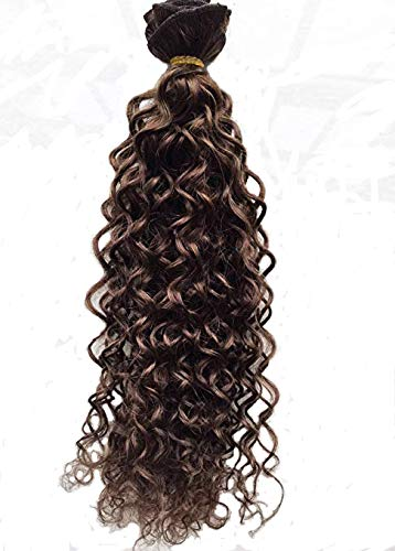 Deep Curl Deep Wave Brown Brazilian Clip in Hair Extensions 100% Remy Human Hair 18 Inches(45cm) 75g 7pcs/set, Color #6 Medium Brown