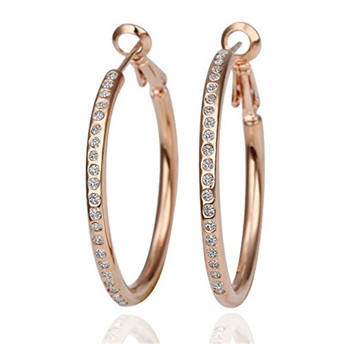MR.TIE Fashion Jewelry Gold Plated Base Rhinestone Crystal Hoop Earring by PromiseU
