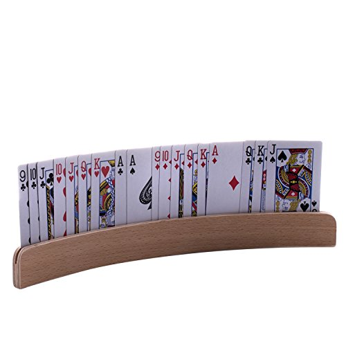 "GrowUpSmart Set of 4 Wooden Playing Card Holders In Curved Design - 14"" Size For Kids, Adults and Seniors alike"