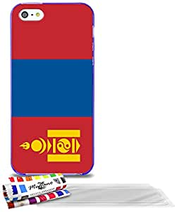 """Carcasa Flexible Ultra-Slim APPLE IPHONE 5 de exclusivo motivo [Mongolia Bandera] [Violeta] de MUZZANO  + 3 Pelliculas de Pantalla """"UltraClear"""" + ESTILETE y PAÑO MUZZANO REGALADOS - La Protección Antigolpes ULTIMA, ELEGANTE Y DURADERA para su APPLE IPHONE 5"""