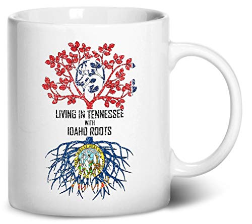 Tenacitee Living In Tennessee with Idaho Roots Coffee Mug, 11oz, White ()