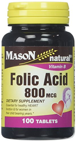 Mason Vitamins Folic Acid 800 mcg Tablets, 100 Count