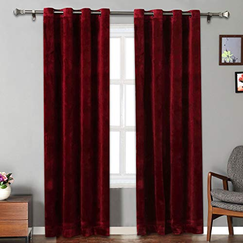 Rose Home Fashion Velvet Curtains for Living Room - Soft Luxury Thermal Insulated Curtains, Grommet Curtains, Set of 2 Panels (50x84 Burgundy) (Luxury Sets Living Room Formal)