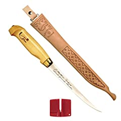 The Original, This series includes four blade sizes, one for every cleaning chore. Progressivley tapered, fulltage baldes of European stainless steel take and hold an ultra-sharp edge. Birch handle and a fine tooled leather Laplander sheath. ...