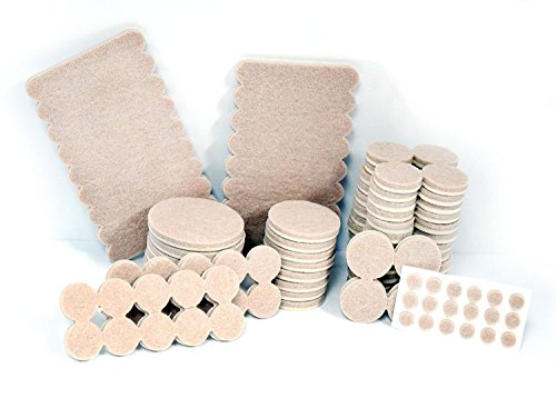 Carpet Tiles Set (Furniture Pads - Anti Skid Self Adhesive Scratch Protectors for Carpets, Tiles, Laminates and Hardwood Floors - Set of 144 Various Size Cover Pieces (Beige) Contains Silicone Bumper Pads for Walls)