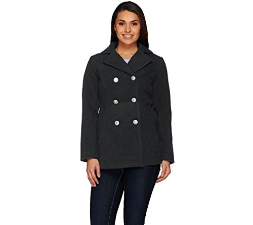 Womens Fitted Lightweight Peacoat (Joan Rivers Notched Collar Double Breasted Peacoat Fitted Charcoal L New A268152)