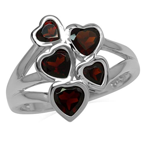 ral Garnet White Gold Plated 925 Sterling Silver Love Heart Cluster Ring Size 9 ()