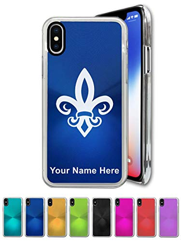 (Case Compatible with iPhone Xs MAX, Fleur de Lis, Personalized Engraving Included )
