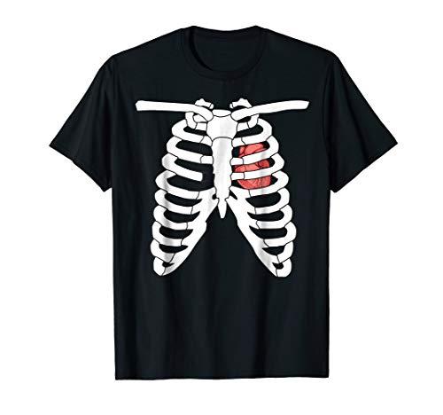 halloween costumes 2018 SHIRT skeletten real heart tshirt ()