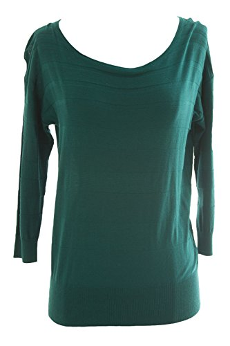 August Silk Women's Knit 3/4 Sleeve Sweater Petite Medium Evergreen Turquoise ()