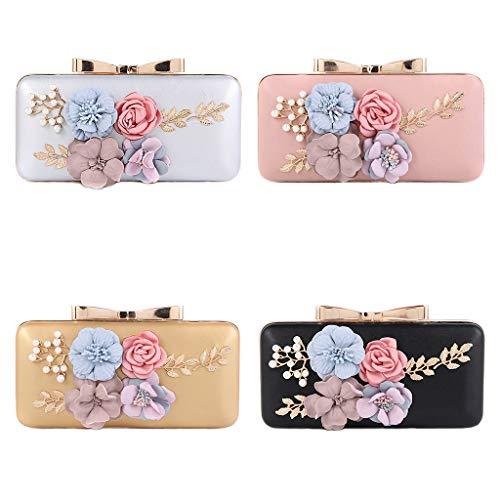 Prom Hergon Beaded Wallet Bag Women Party Flower Wedding Clutch Handbag Evening Gold Purse 6qw84xr6