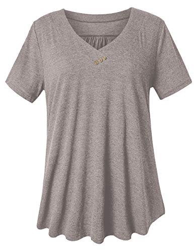 U.Vomade Women's Short Sleeve Top Plus Size Blouses Swing T-Shirt Light Coffee 1X