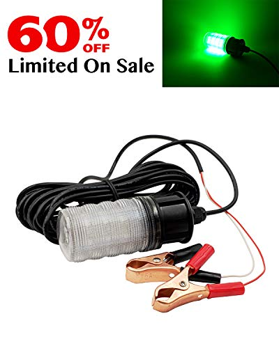 Suxing IP68 1000 Lumen 12V LED Green Underwater Sinking Submersible Night Fishing Light Crappie Squid Boat Shad Shrimp Fish Finder Lamp 5m Cord