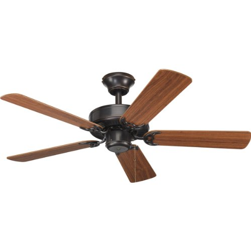 Progress Lighting P2500-20 42-Inch Fan with 5 Blades with Reversible Classic Walnut/Medium Cherry Blades, Antique Bronze