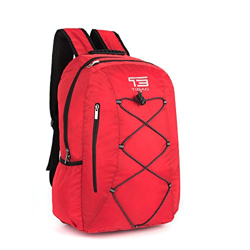 SOMISS 25L Water Resistant Lightweight Packable Foldable Daypack Camping Backpack (25L, SPB6S-RED)