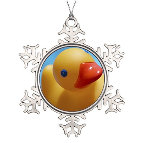 (Valerie Xmas Trees Decorated Rubber Duck Close-Up Picture Snowflake Ornaments)