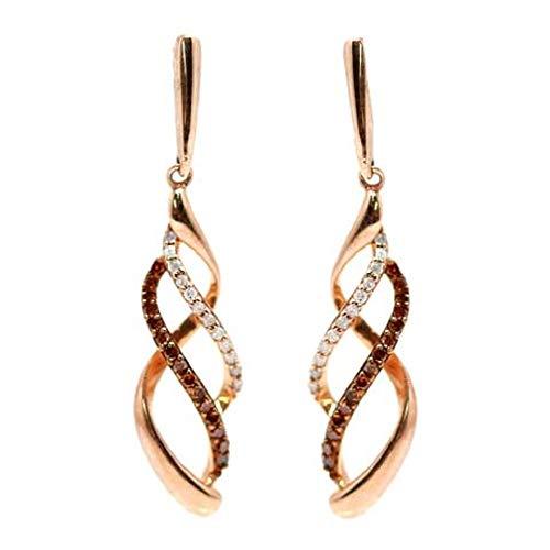 AFJewels 10k Rose Gold 0.20 Cttw Diamond Infinity Twist Dangling Earrings ()