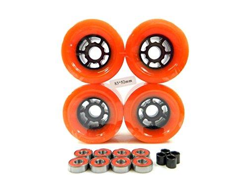 90mm Longboard Flywheels Wheels + ABEC 7 Bearings Spacers (Orange)