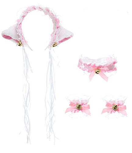 [Cute Anime Lace Cat Fox Ears Headband Bell Necklace Choker Bracelet Gothic Fancy Dress Party Cosplay Costume Accessory Set] (Cute Unique Infant Halloween Costumes)