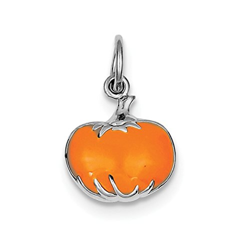 ICE CARATS 925 Sterling Silver Orange Enameled Pumpkin Pendant Charm Necklace Holiday Halloween Fine Jewelry Ideal Gifts For Women Gift Set From (Halloween Type Holidays)