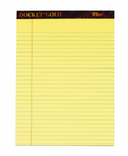 TOPS Docket Gold Writing Tablet, 8-1/2 x 11-3/4 Inches, Perforated, Canary, Legal/Wide Rule, 50 Sheets per Pad, 6 Pads per Pack (63956)