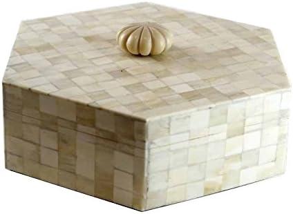 Better & Best Caja de Hueso Hexagonal, con Tirador, Color Blanco, Interior Madera, 20.50x23.00x7.00 cm: Amazon.es: Hogar