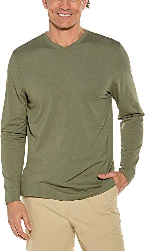 Coolibar UPF 50+ Men's Long Sleeve Everyday V-Neck T-Shirt - Sun Protective (Medium- Olive) ()