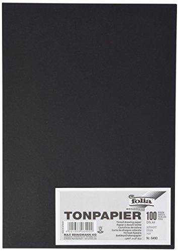 Folia 6490 - Tonpapier schwarz A4, 100 Blatt