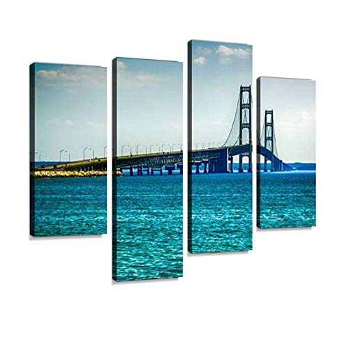 YKing1 The Mackinac Suspension Bridge from Saint Ignace to Mackinaw mi Lake Wall Art Painting Pictures Print On Canvas Stretched & Framed Artworks Modern Hanging Posters Home Decor 4PANEL (Ignace In Christmas)