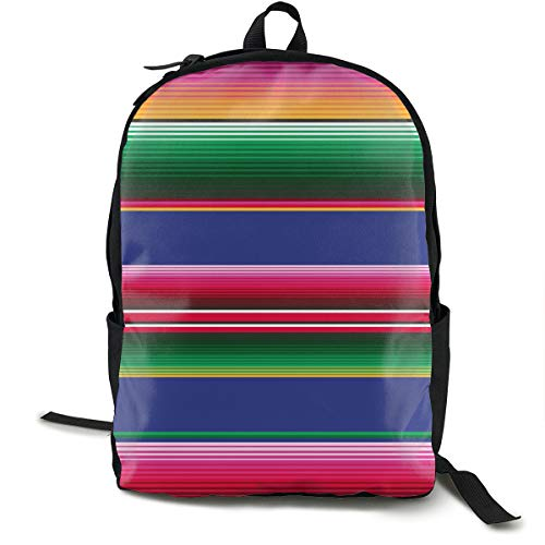 (O-X_X-O Unisex Classic Lightweight Polyester Novel Colorful Mexican Blanket Stripes Backpack School Rucksack Travel Backpack College School Bags Laptop Backpack)