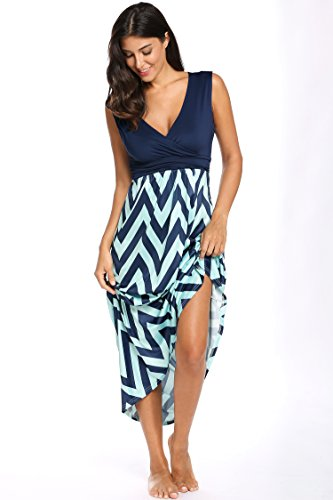 HOTOUCH Sleeveless Baby Shower High Waist Striped Long Sundresses for Women Dark Blue XL (Long Womens Sun Dress)