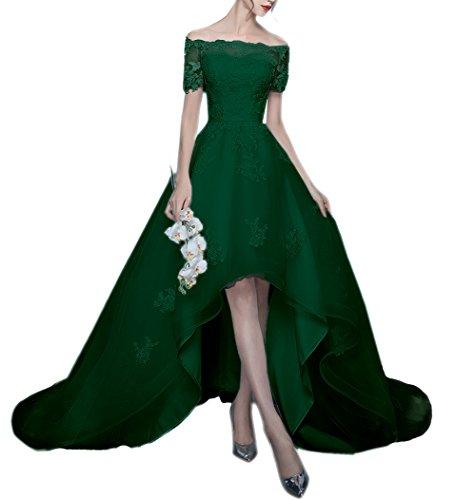 Dress Wedding Elegant High Womenn Off Low Shoulder Green for Bridal Lace Amore YAqpTW