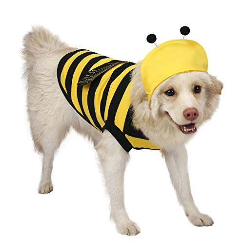 HDE Dog Bumblebee Costume Pet Halloween Outfit with Cap for Small to Medium Dogs and Puppies