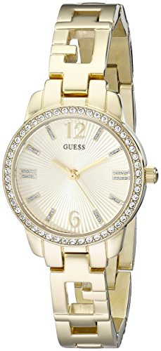 GUESS Women's U0568L2 Iconic Gold-Tone Logo Watch with Genuine Crystals & Self-Adjustable Links