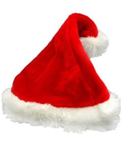 Deluxe Santa Hat Velveteen with White Faux Fur Trim Pkg/1 (Trim Santa)